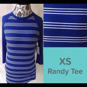 NWT Lularoe Randy Baseball Tee royal blue white